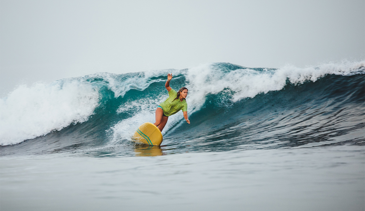 Saladita resident and Siren Surf Adventures co-founder Kristy Murphy used her local knowledge and impeccable timing to make it into the final. Many considered her the most relaxed and stylish surfer of the event. Photo Sarah Lee