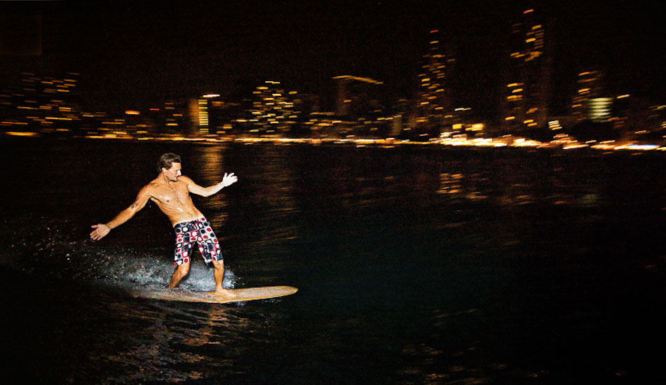 "This was shot for Quiksilver. Shayne McIntyre night surfing Waikiki. On-camera flash with a 10-22mm lens. 1/15@F2.8 ISO 800 at 1/16 strobe power. The camera flooded seconds after this wave, and although the gear was lost the image was salvaged. Stoked. Photo: <a href=""http://www.mikecoots.com\"">Mike Coots</a>"