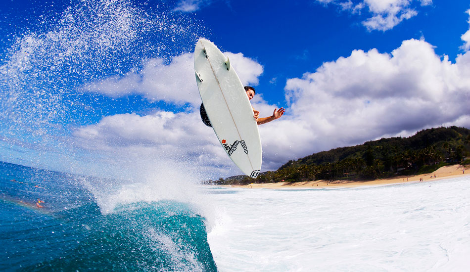 """Australian freesurfer Wade Goodall is one freaky bloke. He\'s always pushing the limits when it comes to boosting huge Airs. This one is big, clean and over the shallow rock shelf of OTW Hawaii. Photo: <a href=\""""http://www.natesmithphoto.com/\"""" target=\""""_blank\"""" title=\""""Nate Smith Surf Photos\"""">Nate Smith</a>"""
