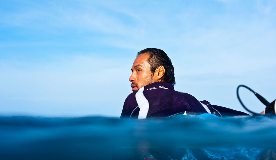 """Mar Ono waiting his turn at Pipe. I\'ve seen Mar do some pretty crazy things in my time, but I dig this shot. He looks super chilled in amongst all the mayhem that is Pipe. Photo: <a href=\""""http://www.natesmithphoto.com/\"""" target=\""""_blank\"""" title=\""""Nate Smith Surf Photos\"""">Nate Smith</a>"""