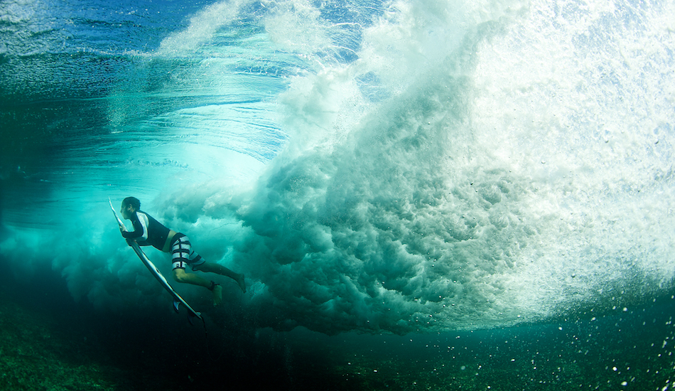 "The typical through-the-wave duck dive shot. It never gets old, especially when this clear. Ry Craike at home. Photo: <a href=""http://www.russellord.com\"" target=\""_blank\"">Russell Ord</a>"