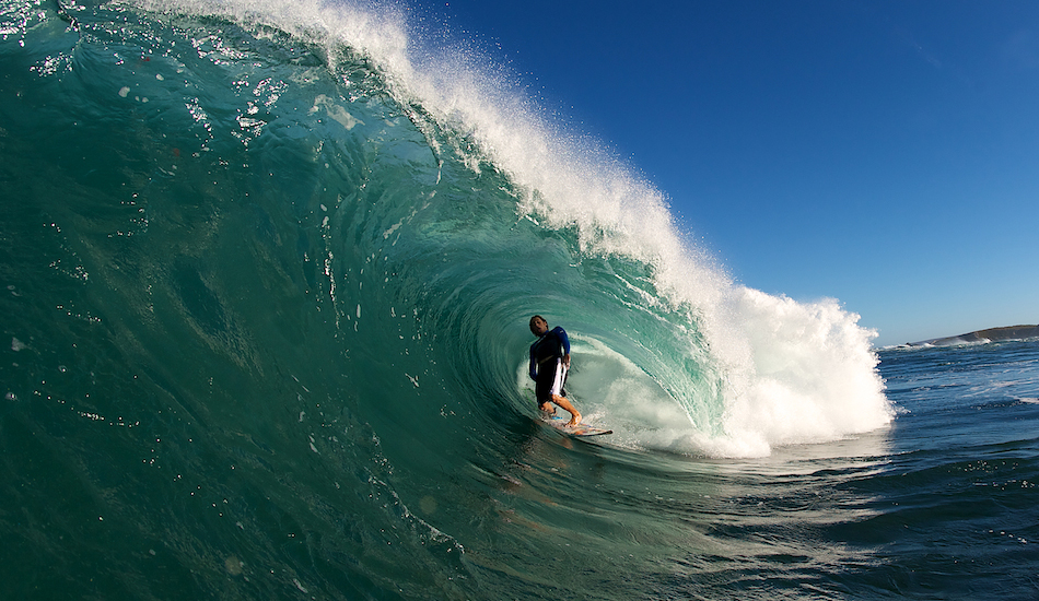 "I made a passing comment to Shaun, jokingly, that if he could look a little more casual when he surfs this heavy reef break. So he gave me this soul arch. Photo: <a href=""http://www.russellord.com\"" target=\""_blank\"">Russell Ord</a>"