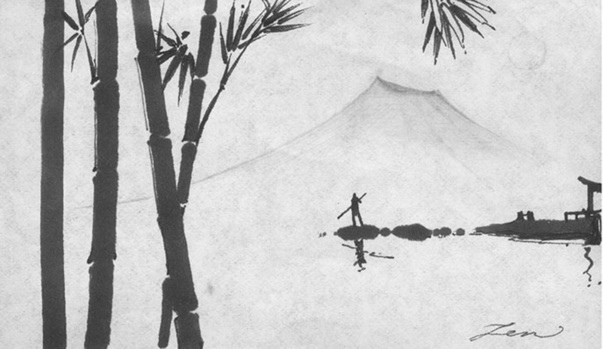 "Bamboo. Ink on Paper by <a href=\""https://www.zendelrio.com/\"">Zen Del Rio</a>"