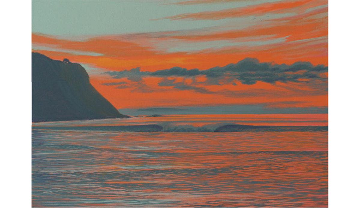 "Cove Sunset. Oil on Canvas by <a href=\""https://www.zendelrio.com/\"">Zen Del Rio</a>"