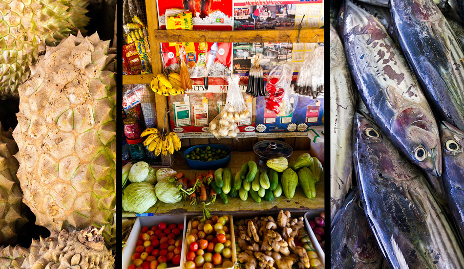 Local shops sell everything from the notoriously pungent durian fruit to vegetables to fresh-caught fish. Photo: Callahan/SurfExplore