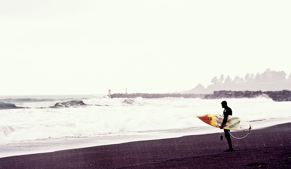 "This film shot is the antithesis of the typical surf photo and the reality of surfing in the Northern Latitudes: rain, wind, stormy seas, getting skunked. Photo: <a href=""http://markmcinnis.com/\"">Mark McInnis</a>"