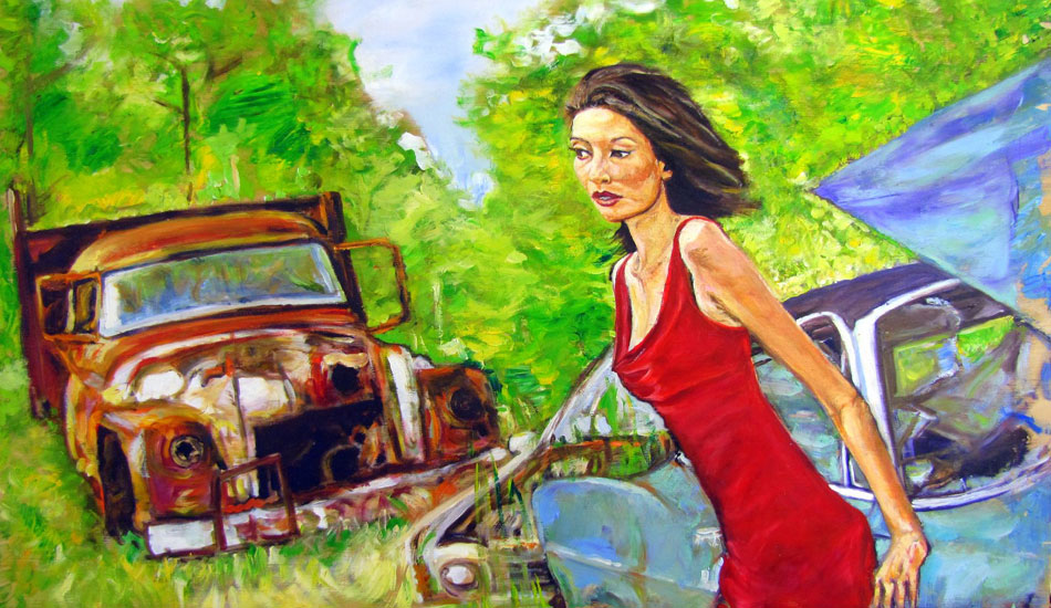 <b>Crystal in a Junkyard. Oil on wood.</b> This is my girlfriend, Crystal. The junkyard is close to our house in rural South Carolina.  She is a great subject to paint, but rarely likes the portraits I do of her!