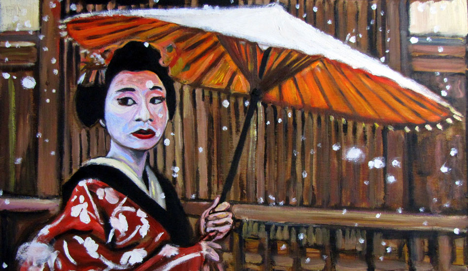 <b>Geisha in the Snow. Oil on wood.</b> I did a series of Geisha paintings because the owners of Telos Island Lodge also opened a Snow lodge in Japan. I was hoping they would purchase them. Fingers crossed!