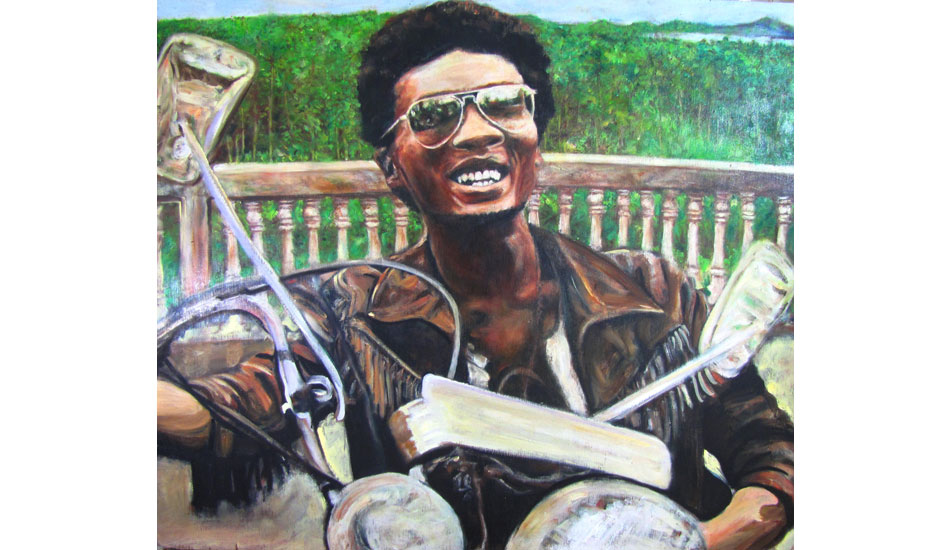 """<b>Jimmy Cliff in Nias. Oil on wood.</b> Music is really important to me when I travel and paint. My friend turned me on to the movie, \""""The Harder They Come\"""" starring Jimmy Cliff as Ivan. He was an outlaw in the movie, and I imagined him on the run on Nias Island, Indonesia. Behind him is the view from the tomb of the Queen of South Nias, which is close to Lagundri Bay."""