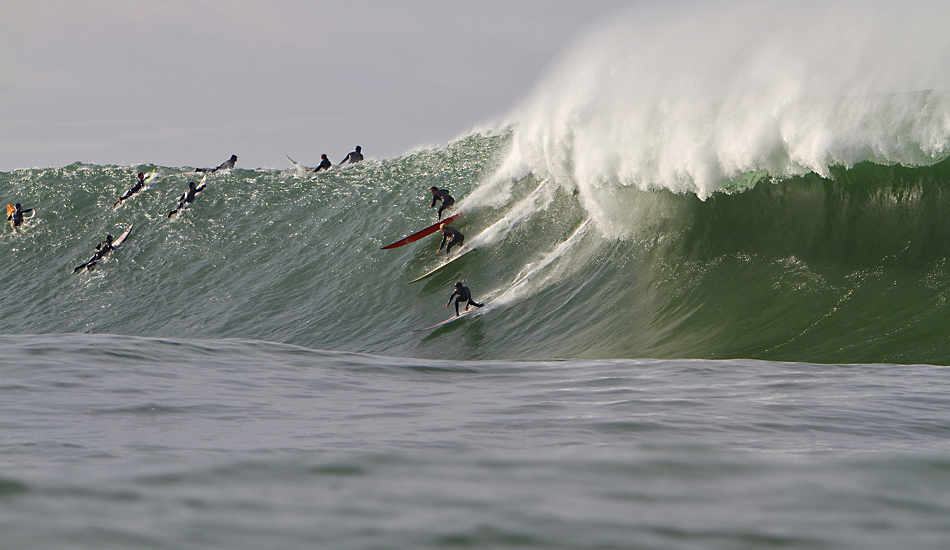 "Party wave at Mavericks 2010. Todd Tissue, Ryan Augenstein and Tyler Fox. Photo: <a href=""http://instagram.com/migdailphoto\""> Seth Migdail</a>"