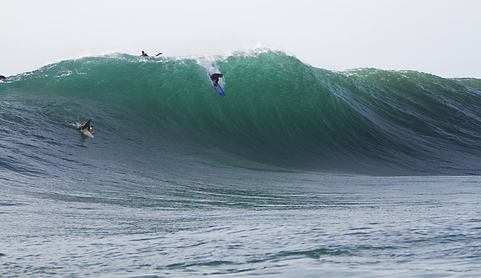 "João De Macedo hucking himself over the ledge at Mavericks. Yeah, he took a beating! Photo: <a href=""http://instagram.com/migdailphoto\""> Seth Migdail</a>"