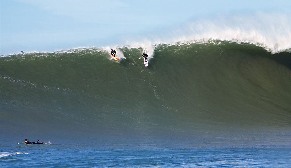 "Grant \""Twiggy\"" Baker dropping into a 2008 XXL nominated wave at Mavericks. Photo: <a href=\""http://instagram.com/migdailphoto\""> Seth Migdail</a>"