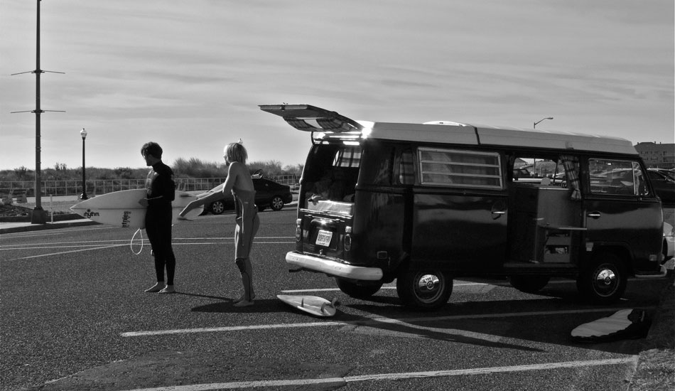 "Luke Ditella & Tom Petriken suit up for a session via Tom\'s VW Bus ""Big Red\"" in NJ. Such a classic way to surf. Photo: <a href=\""http://shcoleman4.wix.com/wwwstevecolemanphotocom\"">Steve Coleman</a>"