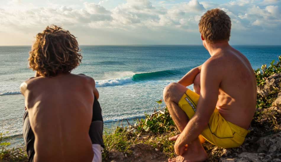 """Rob and Mike Losness having a look at the racetrack section of Uluwatu. Photo: <a href=\""""http://anthonyghigliaprints.com/\"""" target=_blank>Anthony Ghiglia</a>"""