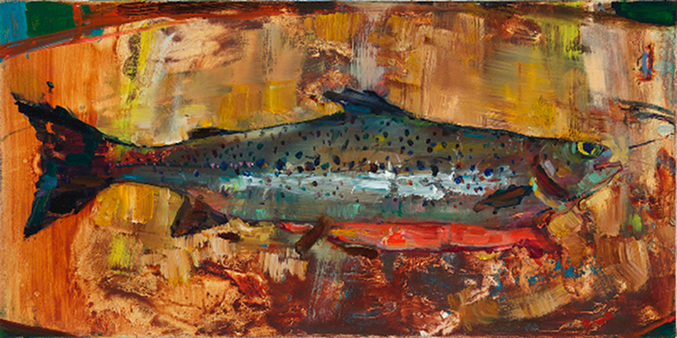 Fish caught June 14th post-Irene waters. Margaretville, New York by Angela Dufresne, 2012. Oil on canvas.