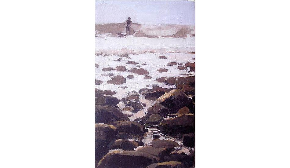 Surfer and rocks by Lynn Grayson.