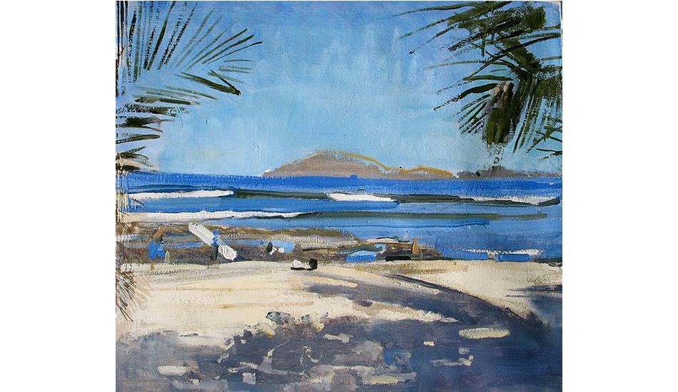 Blue waves, one board by Lynn Grayson.