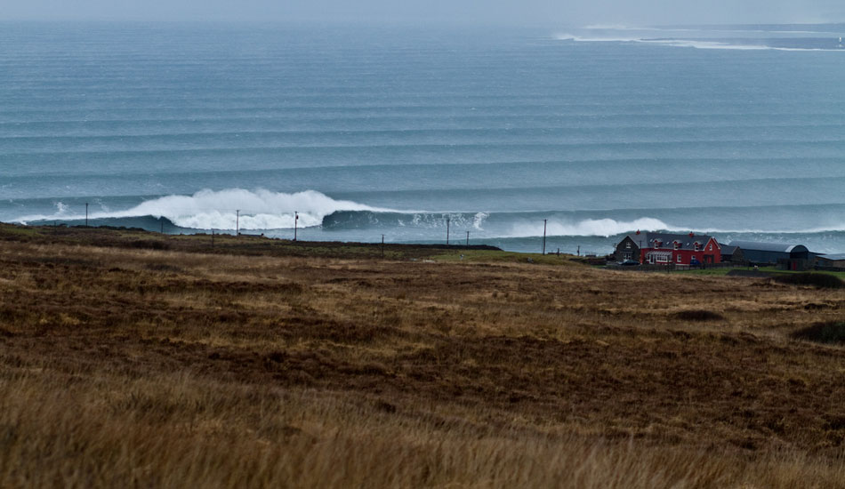 The biggest swell I've ever seen in West Ireland. Buoys were 38 feet, 17 seconds, and there were enormous waves breaking everywhere. Photo: Rusty Long