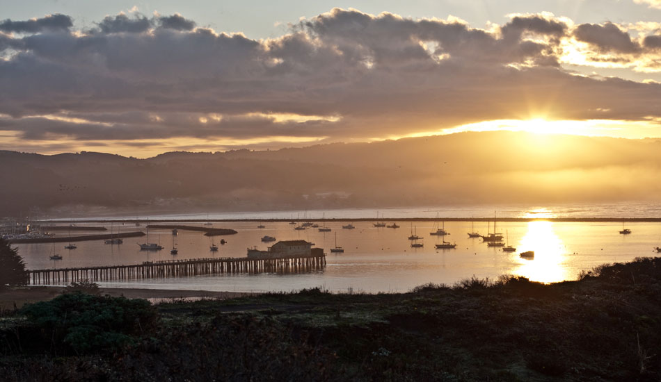 Dawn, lighting up Half Moon Bay Harbor, as seen from the lookout over Mavs. Photo: Rusty Long