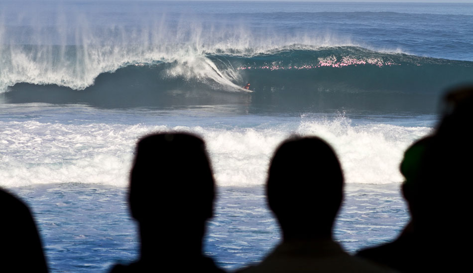 Looking out from the Quik House at Pipe during the Da Hui Shootout.  That's  Dino Adrian on a nug! Photo: Rusty Long