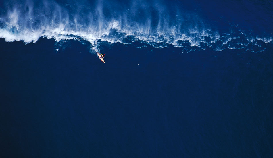 "Garrett McNamara on a truly massive wave back in 2001 at Avalanche. Photo: <a href=\""http://seandavey.com/wordpress/\"" target=_blank>Sean Davey</a>"