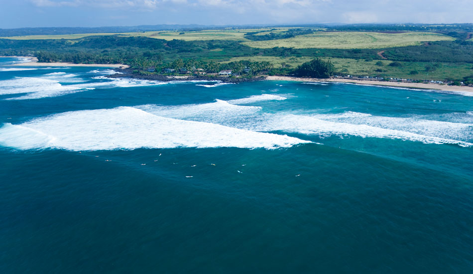 Helicopter overview of  Laniekea on the North Shore of Oahu, Hawaii.