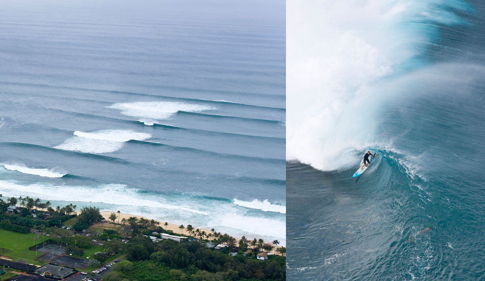 """Pipe Double. Left: Macking swell  Right: Flynn Novak pitted. Photo: <a href=\""""http://seandavey.com/\"""" target=_blank>Sean Davey</a>"""