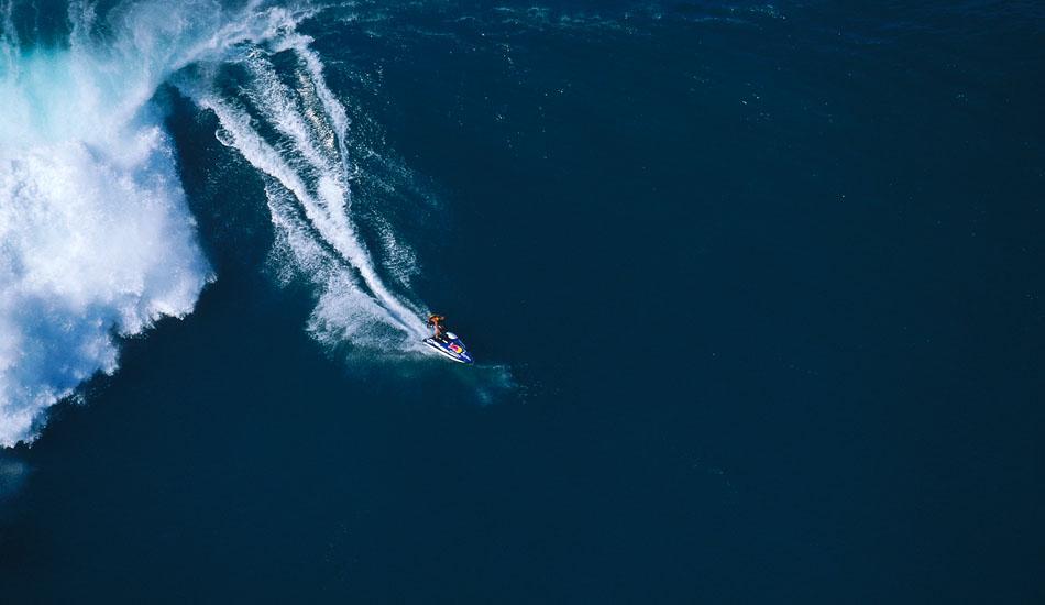 "Randy Lane surfing massive outside Avalanche on a jetski. Photo: <a href=\""http://seandavey.com/\"" target=_blank>Sean Davey</a>"