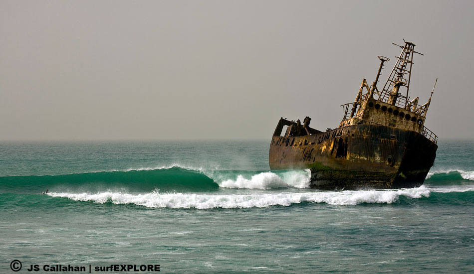 "Mauritania - One of hundreds of insurance-inspired shipwrecks in Mauritania. This ship was scuttled in the middle of a good right point, cutting the wave into two sections. Photo: Callahan/<a href=""http://www.facebook.com/pages/SurfEXPLORE/153813754645965\"" target=_blank>SurfExplore</a>"