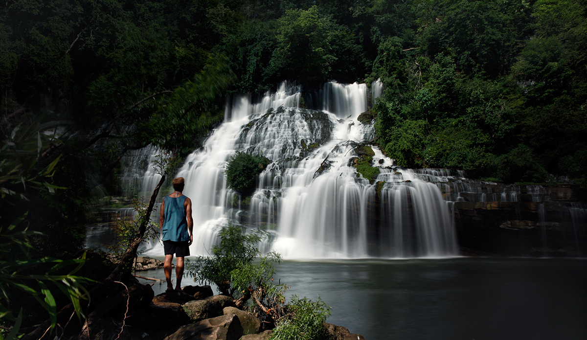 Matthew Likach taking in a waterfall. Middle, TN.  Photo: Sheldon Magner