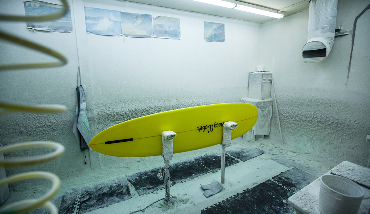 A Dewey Weber surfboard in the polishing room at the Watermans Guild, Santa Ana, CA.  Photo: Sheldon Magner