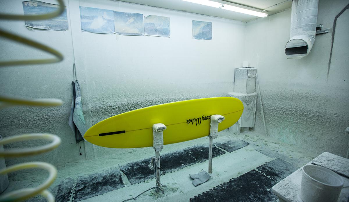 A Dewey Weber surfboard in the polishing room at the Watermans Guild, Santa Ana, CA.  Photo: Sheldon Magner