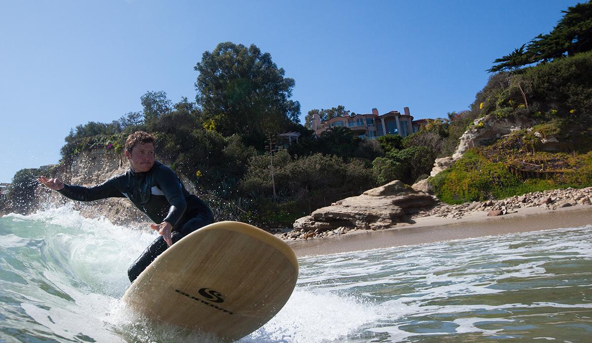 Matt Shutte riding a new model for Sunova surfboards. Outside of Los Angeles, CA.  Photo: Sheldon Magner