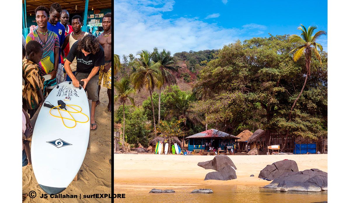 """The members of the Bureh Beach Surf Club receive a new board from the Bic factory in Brittany, France. The BBSC are a stoked crew of local West African surfers who offer food, drink, accommodations and good times at Bureh Beach. They welcome all visiting surfers to Sierra Leone, visit their site at <a href=\""""http://burehbeachsurf.com/\""""> BurehBeachSurf.com</a>, and follow them on <a href=\""""https://www.facebook.com/pages/Bureh-Beach-Surf-Club-Sierra-Leone/168372559912151\"""">facebook</a>!</a> Photo: <a href=\""""http://surfexplore.info/\"""">surfEXPLORE</a>/John Seaton Callahan"""