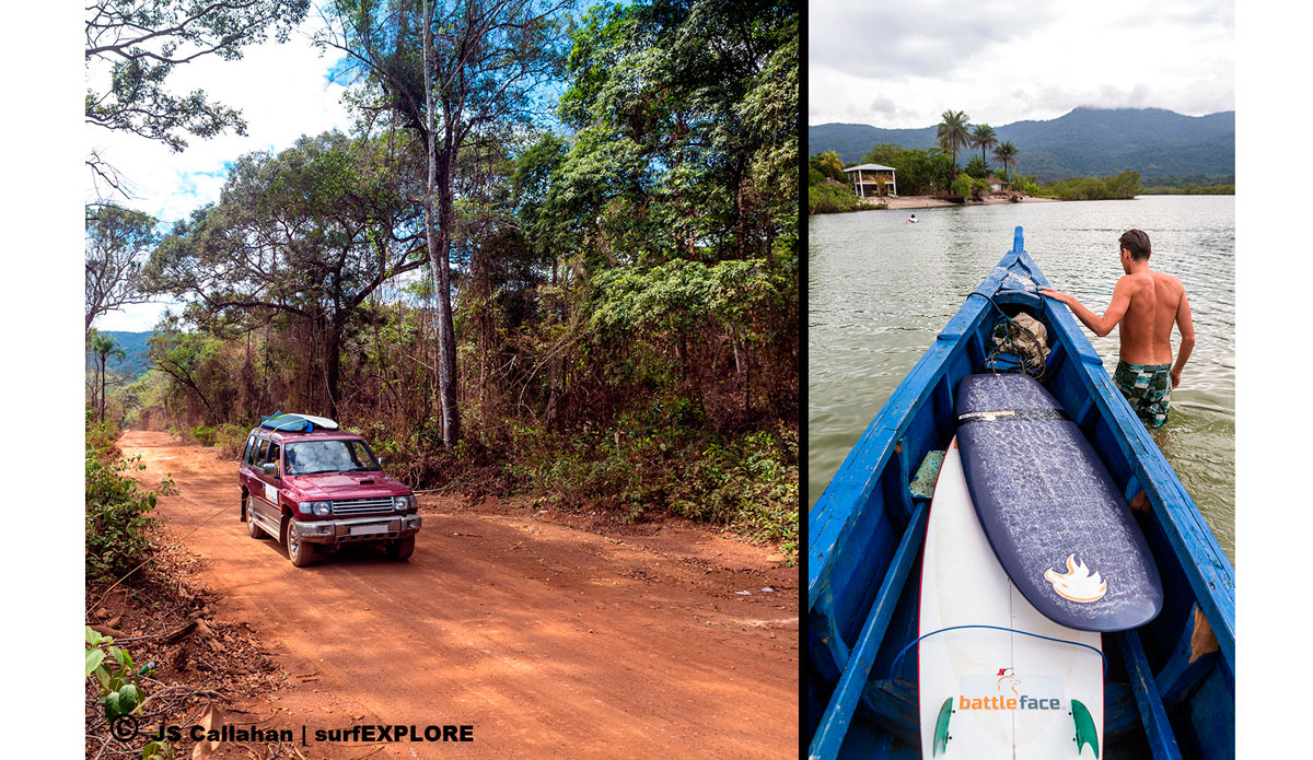 """A rough section of road through the forest in West Africa and crossing the river by boat, never a dull moment with the surfEXPLORE group! Photo: <a href=\""""http://surfexplore.info/\"""">surfEXPLORE</a>/John Seaton Callahan"""
