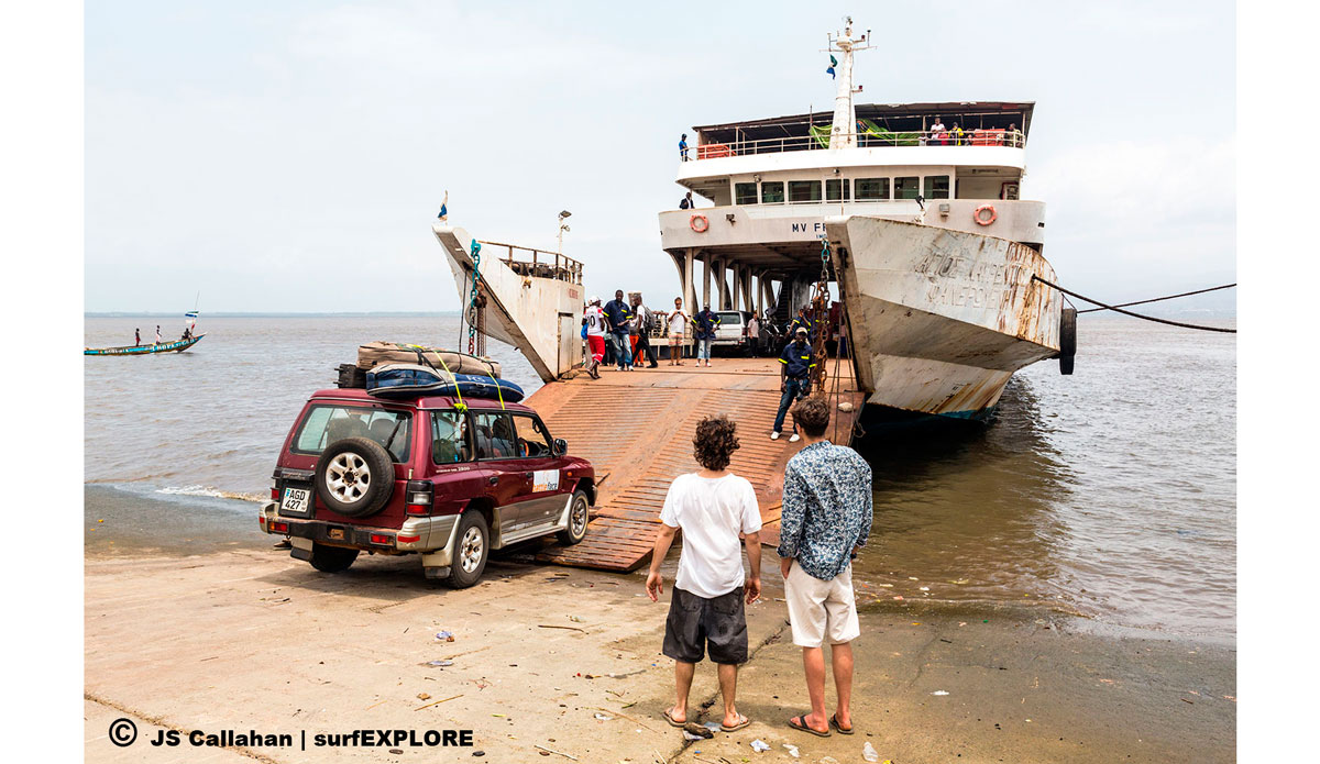 """As the international airport is across the estuary from the capital of Freetown, taking the ferry is the first step in getting to the surf and is quite an adventure in itself. Photo: <a href=\""""http://surfexplore.info/\"""">surfEXPLORE</a>/John Seaton Callahan"""