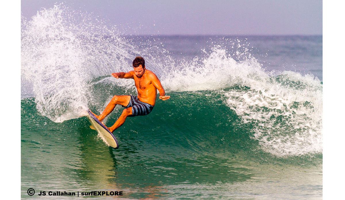 """Emiliano Cataldi with a twin-fin carve on his mini-Simmons in clean morning conditions at River Number 2. Photo: <a href=\""""http://surfexplore.info/\"""">surfEXPLORE</a>/John Seaton Callahan"""