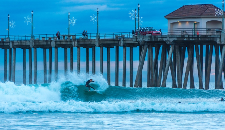 A classic Christmas time left at Huntington Pier. Unknown surfer feeling the holiday spirit. 12/21/16. Photographer: Justin DeLand