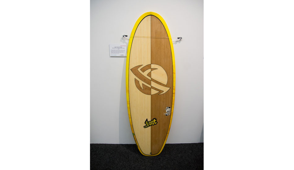 """A Lost """"ecoboard"""", with insane bamboo veneer inlay. Glassed by E-Tech Glassing. Made with Super Sap resin and Marko recycled EPS."""