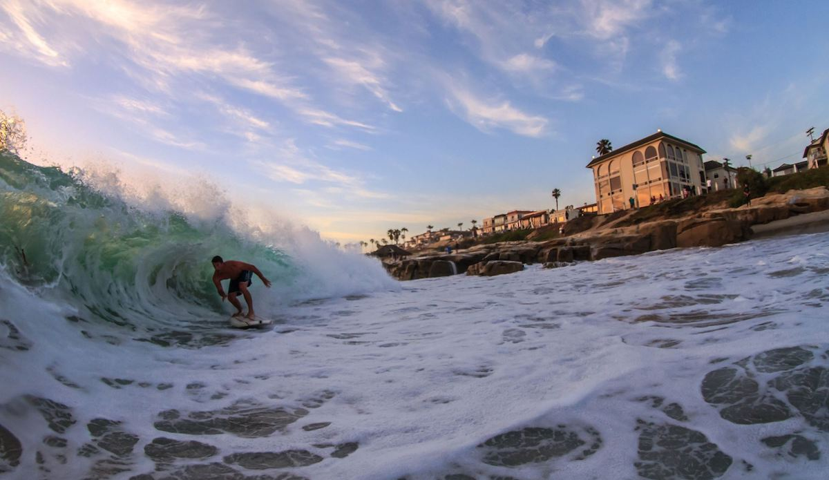 """This photo of Casey Richmond shows how Wavestorm\'s allow you to surf waves that would be otherwise be really sketchy on a fiberglass board.  Wavestorm\'s are also super buoyant so you can get into steep shorebreak early and have plenty of time to pull in. This wave was at my local spot in La Jolla that gets super fun in the summer, with the right swell direction the whomp barrels are totally makable! Photo: <a href=\""""https://www.instagram.com/hons24/?hl=en\""""> Ronald Hons </a>"""