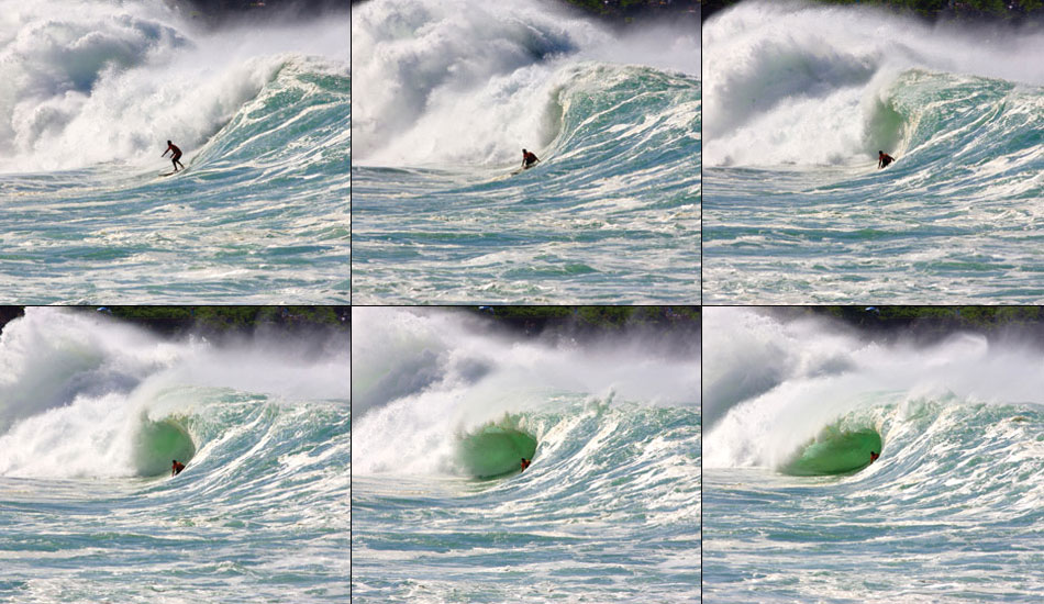 """Andy Irons\' legendary Waimea shorebreak pull in. Photo:  <a href=\""""http://tupat.posterous.com/never-forget-always-remember-the-king-andy-ir\"""" target=_blank>Patrick Eichstaedt</a>."""