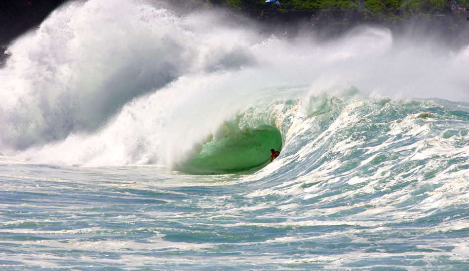 """Andy Irons, massive shorebreak slot. Photo:  <a href=\""""http://tupat.posterous.com/never-forget-always-remember-the-king-andy-ir\"""" target=_blank>Patrick Eichstaedt</a>."""
