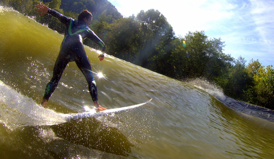 The starting cost of a Wavegarden installation is somewhere between 2 and 3 million (Euros). Indar Unanue pumps down a man-made line. Photo: Wavegarden