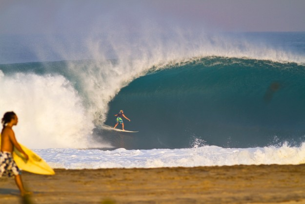 Exhibit two: Keala Kennelly towing in at Puerto Escondido, Mexico. May 2010. Photo: Ryan Struck