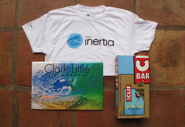Support The Inertia and receive The Inertia's Anniversary Tee-Shirt, Clark Little's 2012 Shorebreak Calendar, and a big box of Clif Bars!