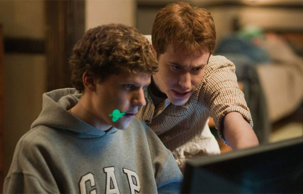 Jesse Eisenberg plays Mark Zuckerberg in The Social Network.