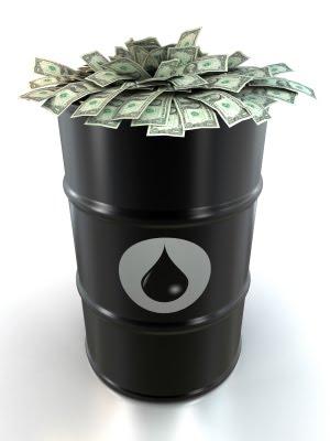 oil barrel and cash