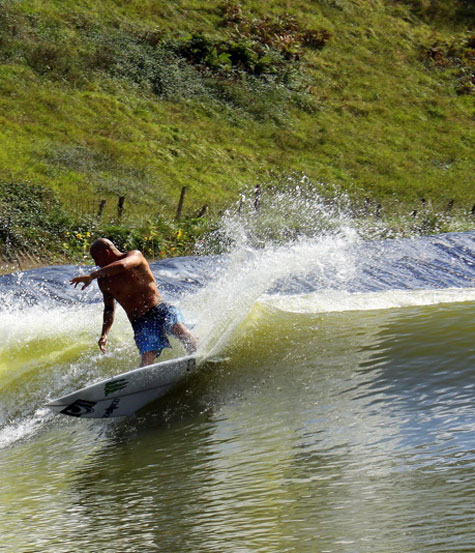 Bobby Martinez surfs Wavegarden