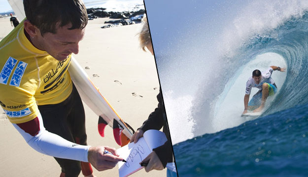 Andy Irons signing autographs and getting barreled in Tahiti