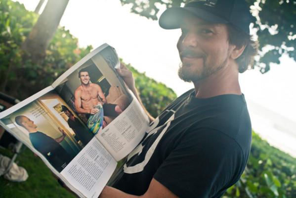 Rockstar Eddie Vedder on site to support surfing's rockstar. Photo: Justin Jay